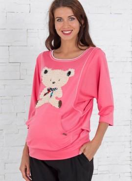 блузон розовый мишка перед