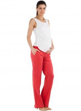 брюки красные лен