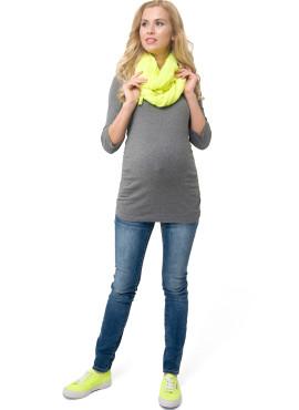 """Лонгслив """"ЭЛЬМИРА"""" для беременных и кормящих, цв- темно-серый меланж."""