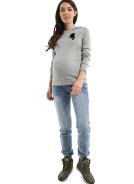 """Лонгслив """"ЛАЙЗА"""" для беременных и кормящих, цв-серый меланж, арт-101677"""