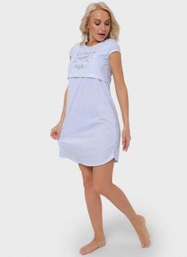 """Ночная сорочка """"Медина"""" для беременных и кормящих, цвет-голубые полоски"""