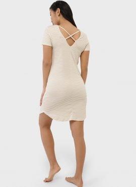 """Ночная сорочка """"Мелана"""" для беременных и кормящих, цвет-бежевые полоски"""