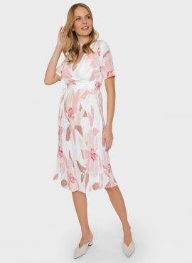 """Платье плиссе с цветами для беременных и кормления """"Хилари"""",цвет-пудровый"""