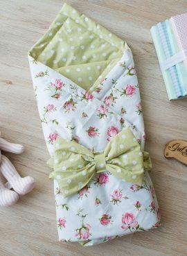 Комплект детский 2-х АРТ 188 Лето,  розы на белом/горох на зелёном.