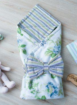 Комплект детский 2-х АРТ 188 Лето,  цветы на белом/цветная полоска.