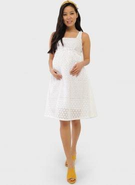 """Летнее хлопковое платье-сарафан для беременных """"Энтони"""", цвет-белый"""