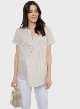 """Блузка """"Эва"""" для беременных и кормящих; цвет: бежевый/полоса"""