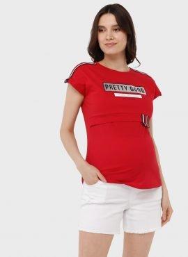 """Футболка """"Лана"""" для беременных и кормящих, цвет: красный"""