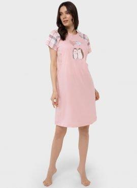 """Платье домашнее """"ПАТРИЦИЯ"""" для беременных и кормящих, цвет: розовый"""