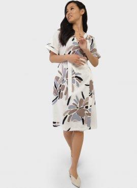 """Платье на запах с цветами для беременных и кормления """"Роксана"""", цвет-экрю"""
