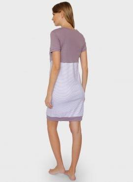 """Ночная сорочка """"Мина"""" для беременных и кормящих, цвет-кофейные полоски"""