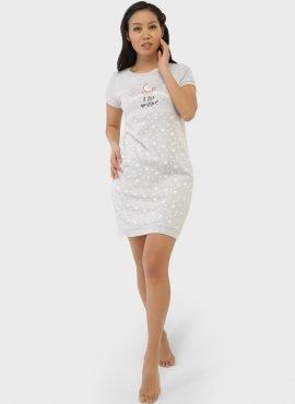 """Ночная сорочка """"Мина"""" для беременных и кормящих, цвет-серые звезды"""