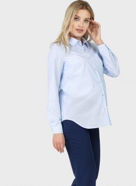"""Рубашка с длинным рукавом для беременных и кормления """"Арина"""", цвет-голубой"""