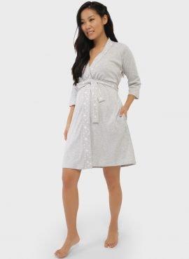 """Комплект в роддом (сорочка, халат) для беременных и кормления """"Микаэла"""", цвет-серые звезды"""