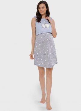 """Ночная сорочка """"Хэйли"""" для беременных и кормящих, серый"""