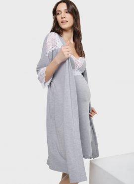 """Комплект в роддом с кружевом для беременных и кормления """"Дольче"""", цвет-серый"""