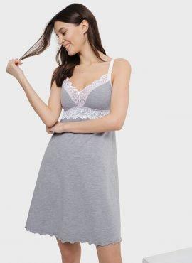 """Ночная сорочка """"Дольче"""" для беременных и кормящих, цвет-серый"""