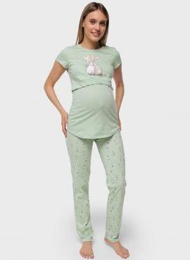 """Комплект для дома """"Стивен"""" для беременных и кормящих, цвет-зеленый"""