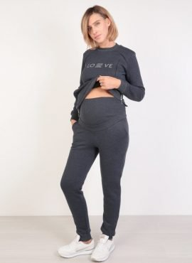 Костюм футер с начесом свитшот и брюки, темно-синий