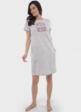 """Ночная сорочка """"Тина"""" для беременных и кормящих,, цвет-серый горох"""