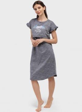 """Хлопковая ночная сорочка для беременных и кормления """"Тайра"""", цвет-серые розы"""