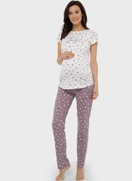 """Пижама для дома (футболка, брюки) для беременных и кормления """"Стивен"""", цвет-кофейные звезды"""