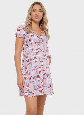 """Ночная сорочка """"Роксолана"""" для беременных и кормящих, красный санта"""