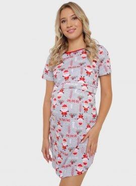 """Ночная сорочка """"Мелания"""" для беременных и кормящих, цвет-красный/санта"""