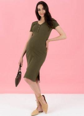"""Платье """"Алиса"""" для беременных и кормления, цвет-хаки"""