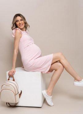 """Платье """"КРУИЗ"""" для беременных и кормящих, цв-полоса/пудра"""