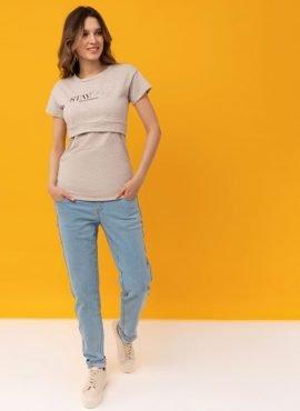 """Футболка """"Ника"""" для беременных и кормящих, цвет-бежевый меланж"""