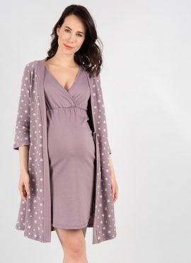 Комплект для роддома «Микаэла» для беременных и кормящих, цвет- кофейные звезды