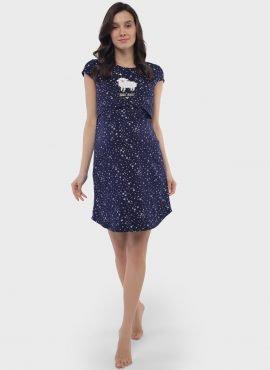"""Ночная сорочка """"Медина"""" для беременных и кормящих, цвет-синие звезды"""