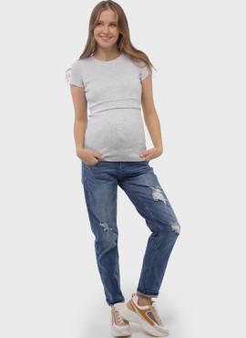 """Футболка """"ВЕСТА"""" для беременных и кормящих,  цв-серый меланж, арт 103308"""