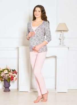 Пижама для беременных и кормящих Lilu 7406 Vivamama, персиковый, арт 7406