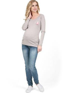 """Лонгслив """"БЕРТА"""" для беременных, бежевый меланж."""