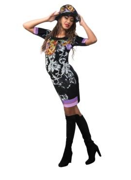 Платье черн Dianora, цветы, арт 14820675