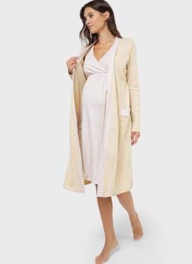 """Комплект для роддома """"ЛИМА"""", для беременных и кормящих , бежевые полоски"""