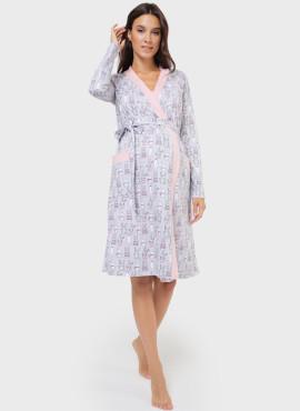 """Комплект для роддома """"Эвелин"""" для беременных и кормящих; цвет: розовые зайчики"""