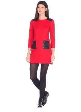 Платье с карманами, цвет красный , артикул V528193