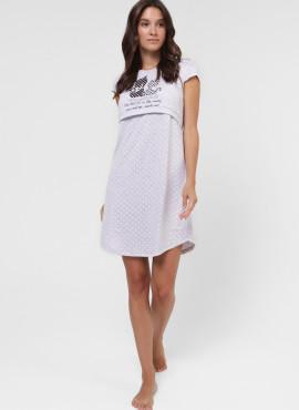 """Ночная сорочка """"МЕДИНА"""" для беременных и кормящих, цв-розовый горох"""