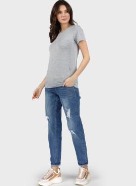 """Футболка """"Милли"""" для беременных и кормящих, цвет: серый меланж"""