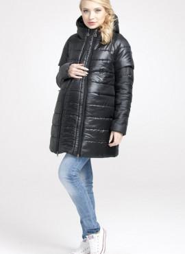 """Куртка-пальто зимняя """"Эдда"""", чёрная для беременных , арт.033202"""